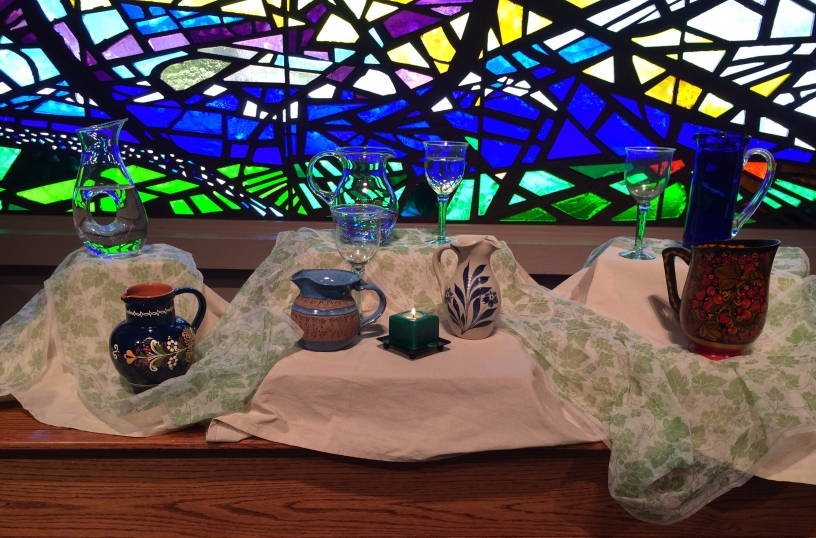 Altar with jugs of water