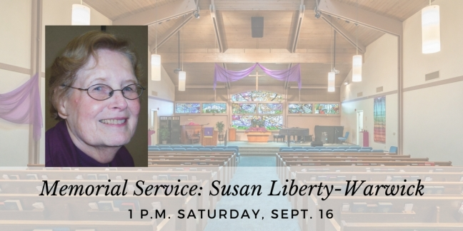 Image of Susan Liberty, announcing her upcoming memorial service