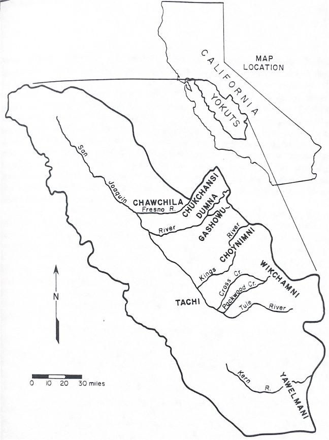 Map showing Yokuts land in California